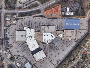 Parking area highlighted in northeastern section of Cary Towne Center parking lot