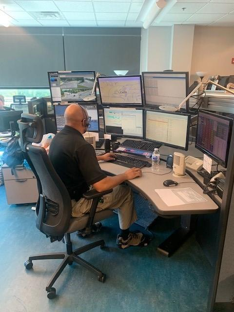 Worker at emergency Communications center