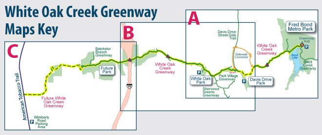 White Oak Creek Greenway Maps Key