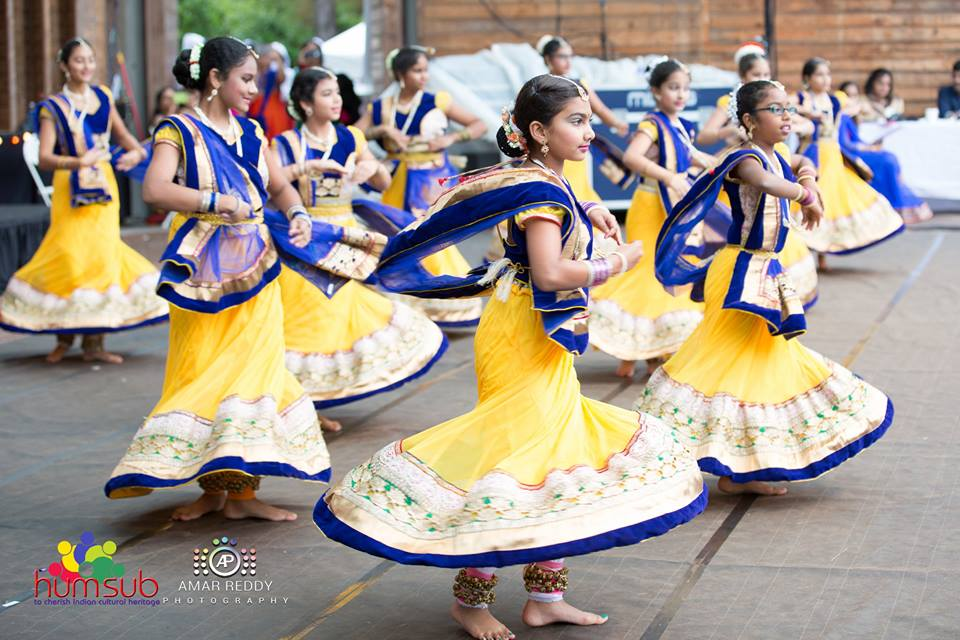 Dancers in Blue and Yellow at Cary Diwali