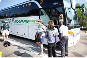 Guests Unloading from Shuttle Bus