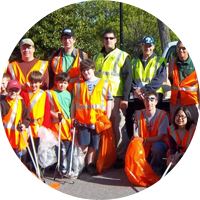 volunteers litter sweep