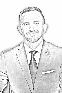 Portrait drawing of Town Manager Sean Stegall