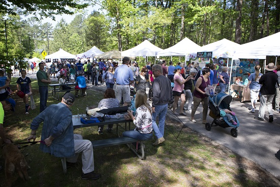 Crowd in vendors area at Spring Daze