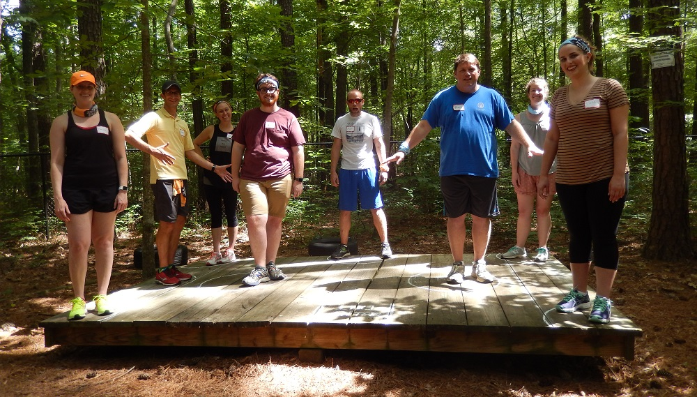 Town staffers on a team-building retreat