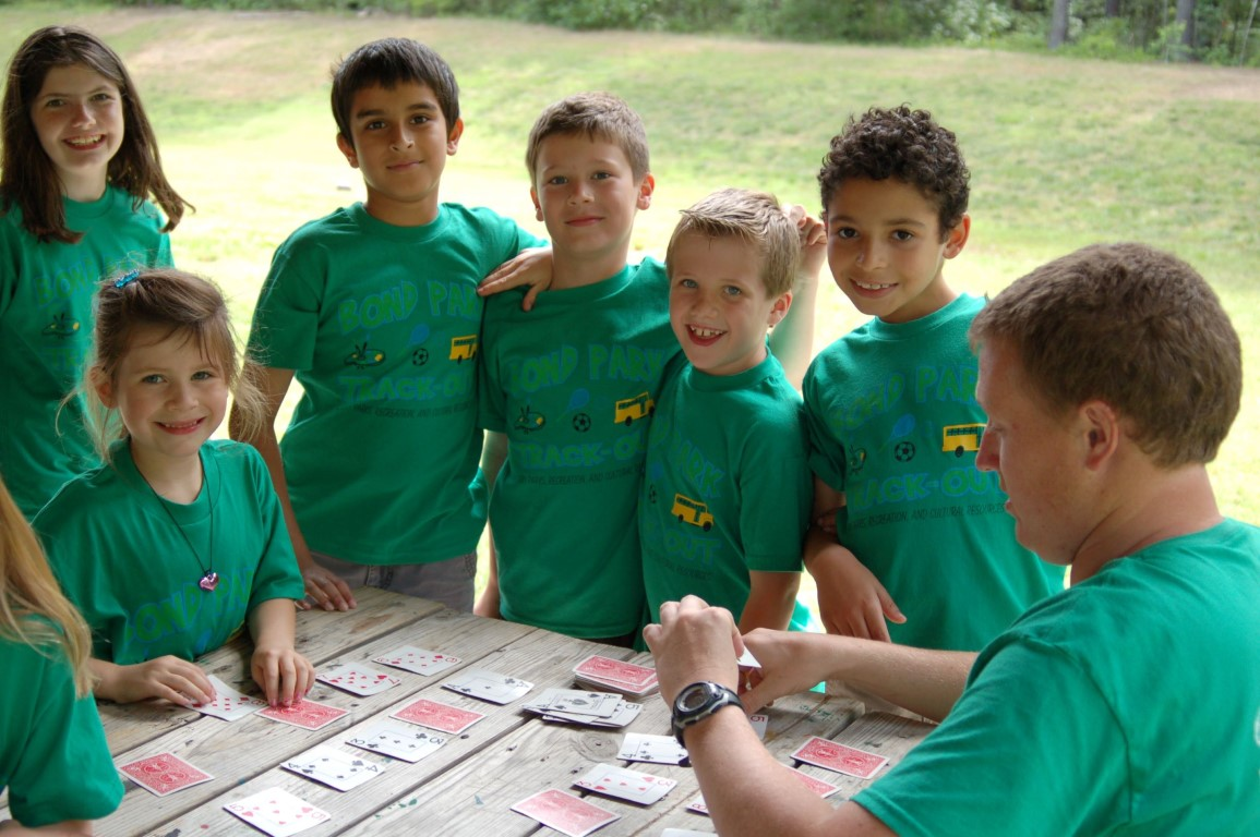 Campers playing card game