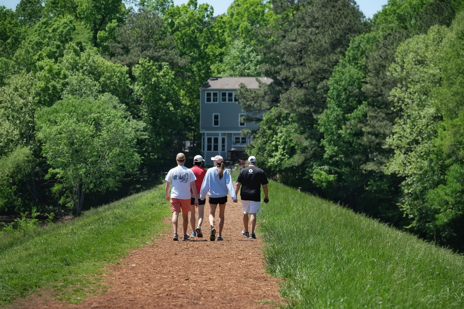 Group walking on trail
