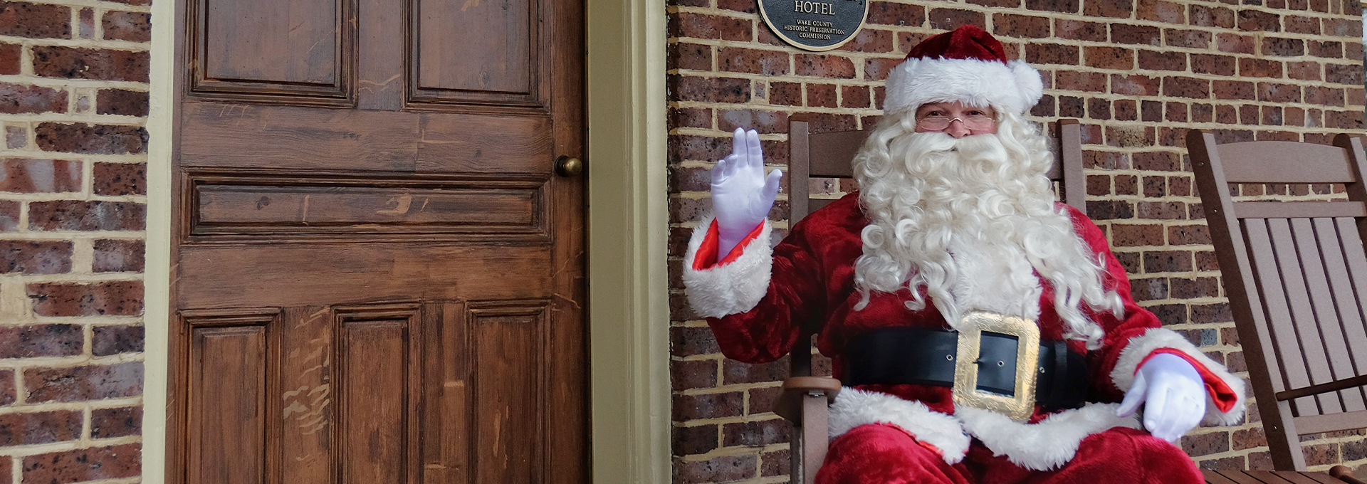 Santa on the porch of the Page-Walker