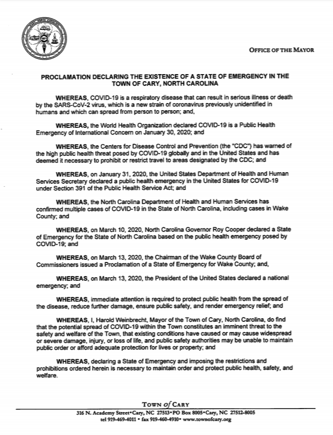 Town of Cary Executive Order