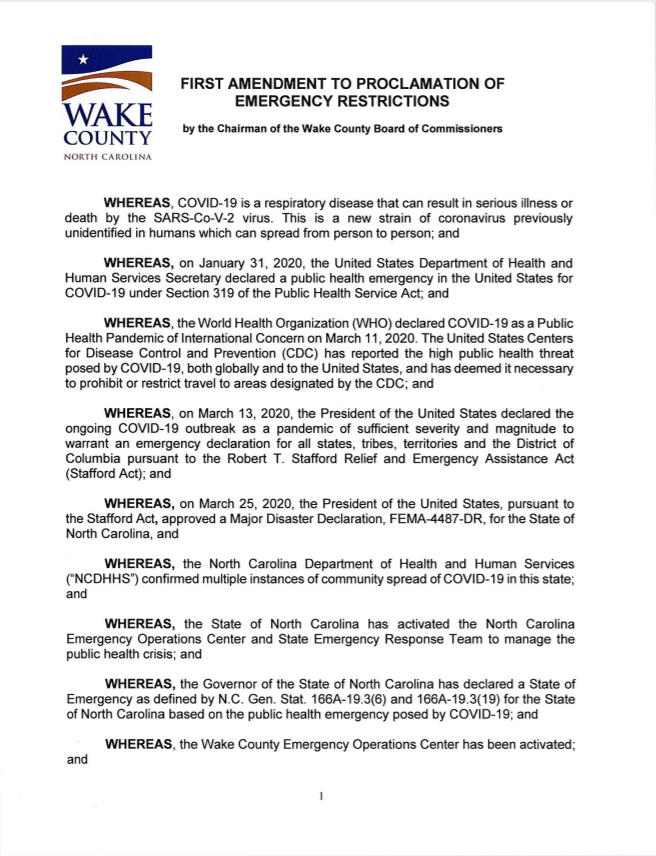 Wake County Executive Order