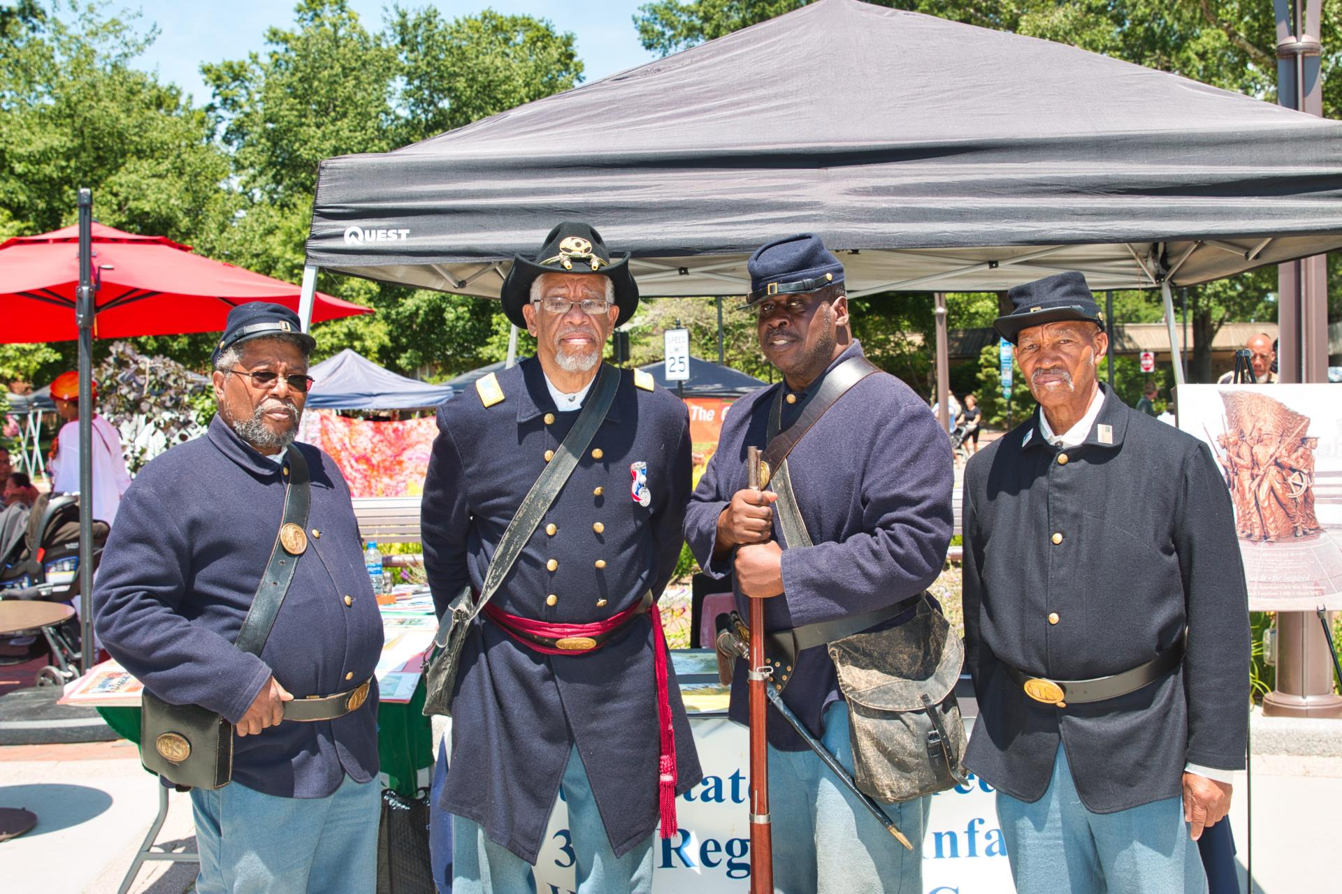 Attendees in Civil War uniforms at 2019 Cary Juneteenth Celebration