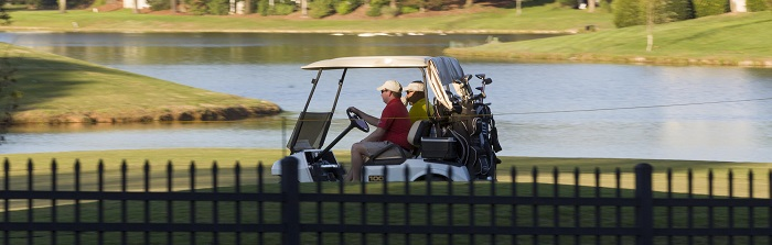 Golfers riding in a cart