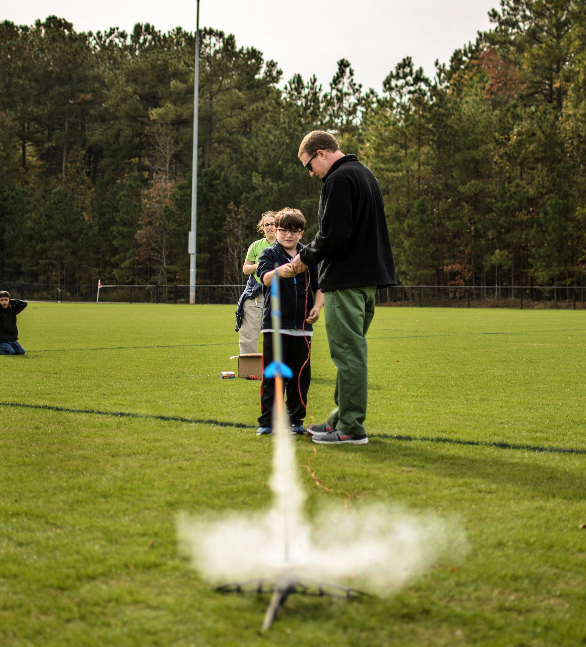 Model rocket taking off